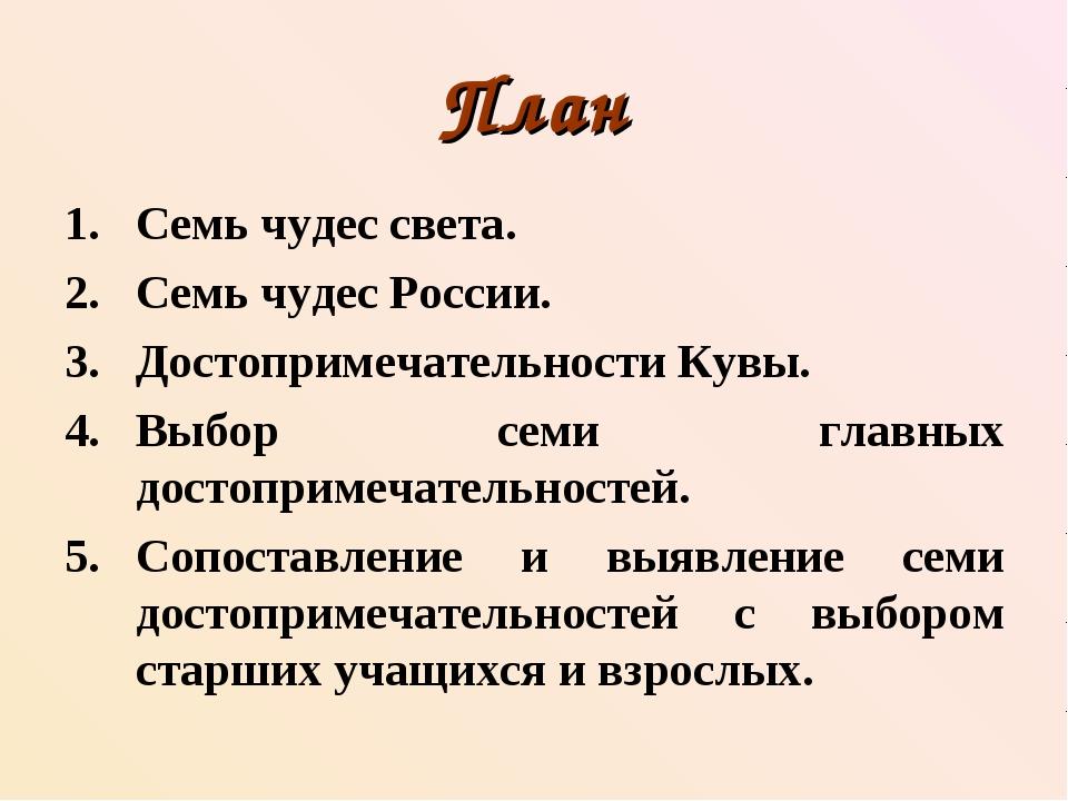 План Семь чудес света. Семь чудес России. Достопримечательности Кувы. Выбор с...