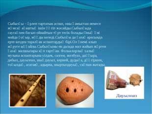 Сыбызғы – үрлеп тартатын аспап, оны қамыстан немесе жұмсақ ағаштың ішін үңгіп