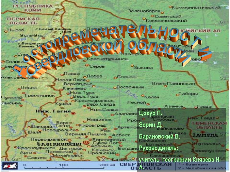 Цокур П. Зорин Д. Барановский В. Руководитель: учитель географии Князева Н. А.