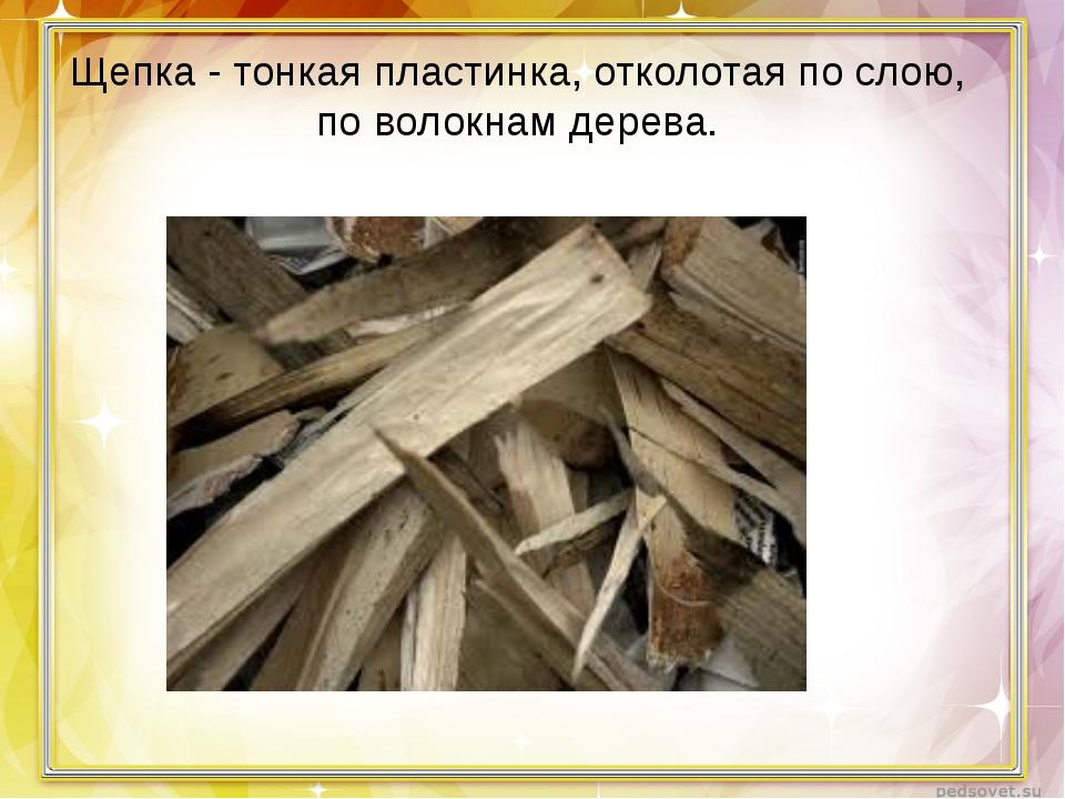 Щепка - тонкая пластинка, отколотая послою, поволокнам дерева.