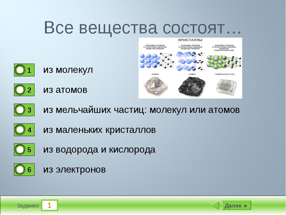 1 Задание Все вещества состоят… из молекул из атомов из мельчайших частиц: мо...