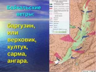 баргузин, или верховик, култук, сарма, ангара. Байкальские ветры: