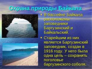 Охрана природы Байкала В бассейне Байкала расположены заповедники Баргузински