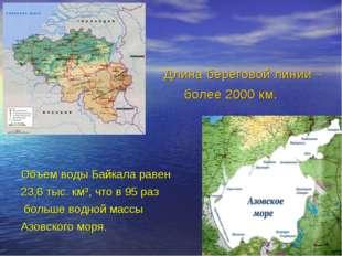 Длина береговой линии – более 2000 км. Объем воды Байкала равен 23,6 тыс. км