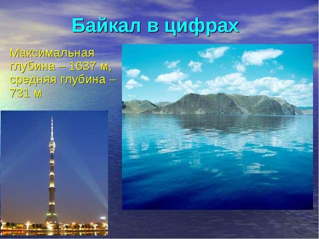 Байкал в цифрах Максимальная глубина – 1637 м, средняя глубина – 731 м