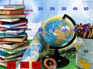 Имена путешественников на карте России  10  20  30  40  50 Географическ