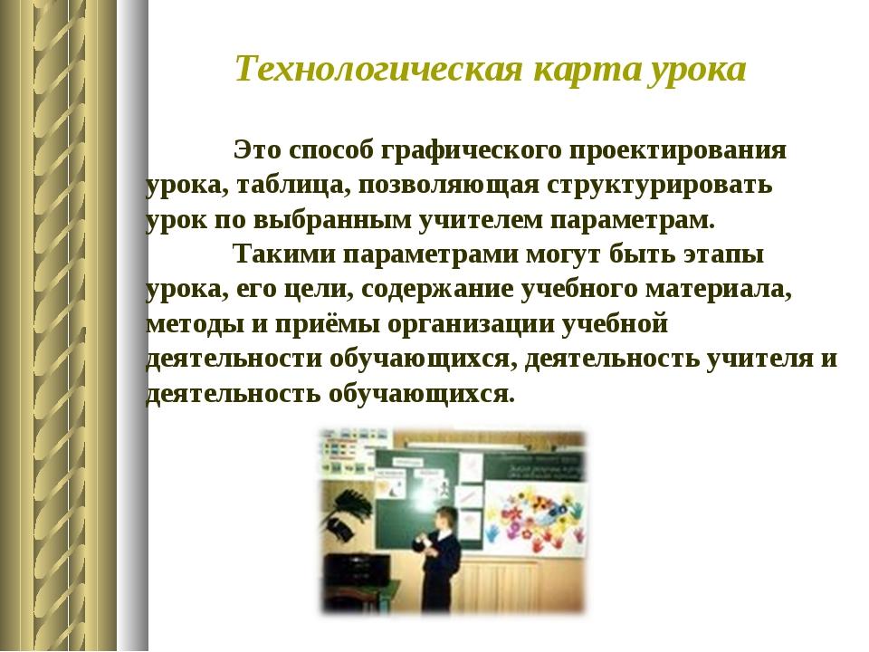 Технологическая карта урока Это способ графического проектирования урока, т...