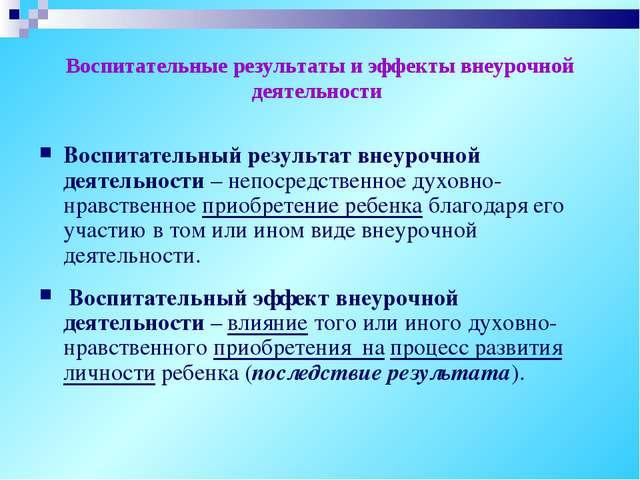 Воспитательные результаты и эффекты внеурочной деятельности Воспитательный р...