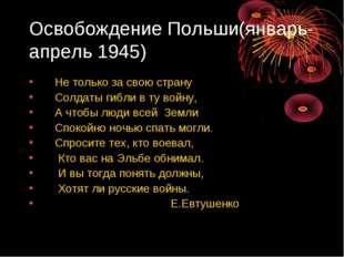 Освобождение Польши(январь-апрель 1945) Не только за свою страну Солдаты гибл