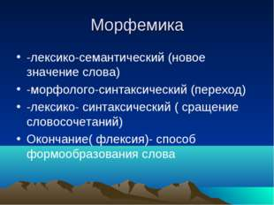 Морфемика -лексико-семантический (новое значение слова) -морфолого-синтаксиче