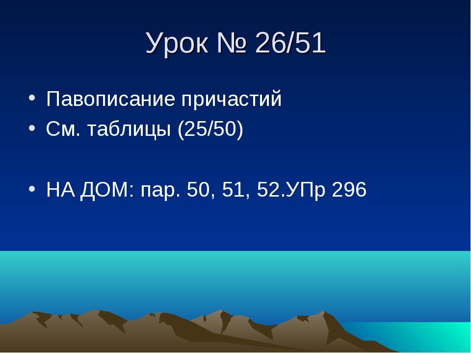 Урок № 26/51 Павописание причастий См. таблицы (25/50) НА ДОМ: пар. 50, 51, 5...