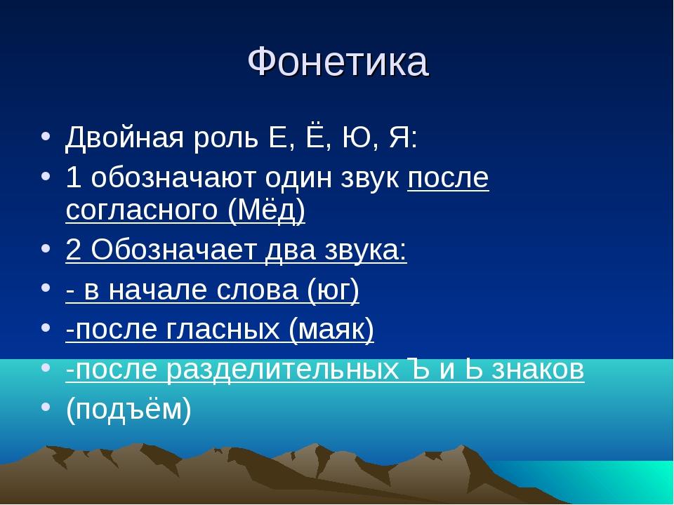 Фонетика Двойная роль Е, Ё, Ю, Я: 1 обозначают один звук после согласного (Мё...