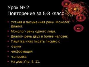 Урок № 2 Повторение за 5-8 класс Устная и письменная речь. Монолог. Диалог. М