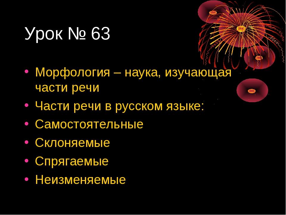 Урок № 63 Морфология – наука, изучающая части речи Части речи в русском языке...