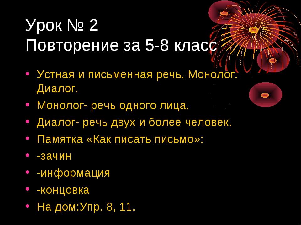 Урок № 2 Повторение за 5-8 класс Устная и письменная речь. Монолог. Диалог. М...