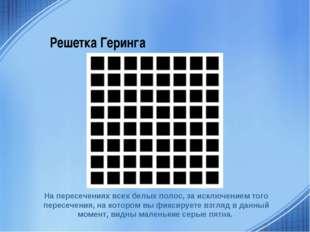 Решетка Геринга На пересечениях всех белых полос, за исключением того пересеч