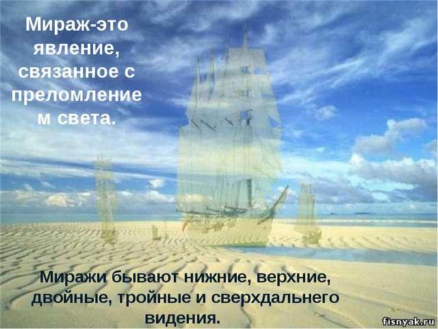Миражи бывают нижние, верхние, двойные, тройные и сверхдальнего видения. Мир...