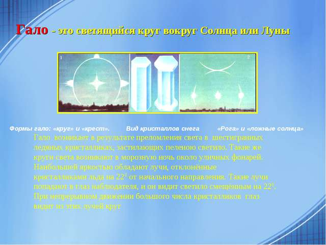 Гало - это светящийся круг вокруг Солнца или Луны Формы гало: «круг» и «крест...