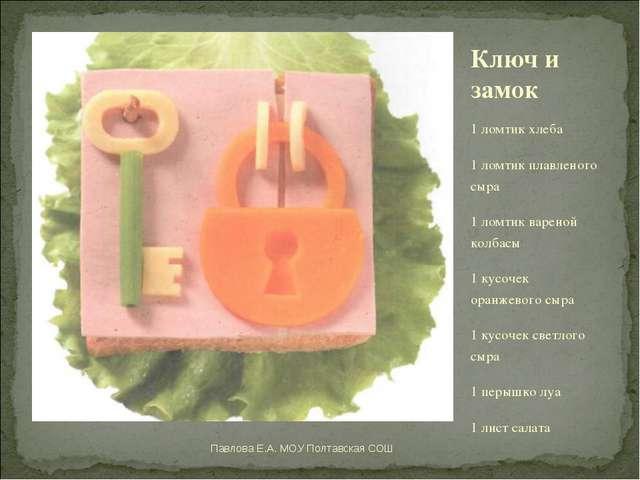 Ключ и замок 1 ломтик хлеба 1 ломтик плавленого сыра 1 ломтик вареной колбасы...