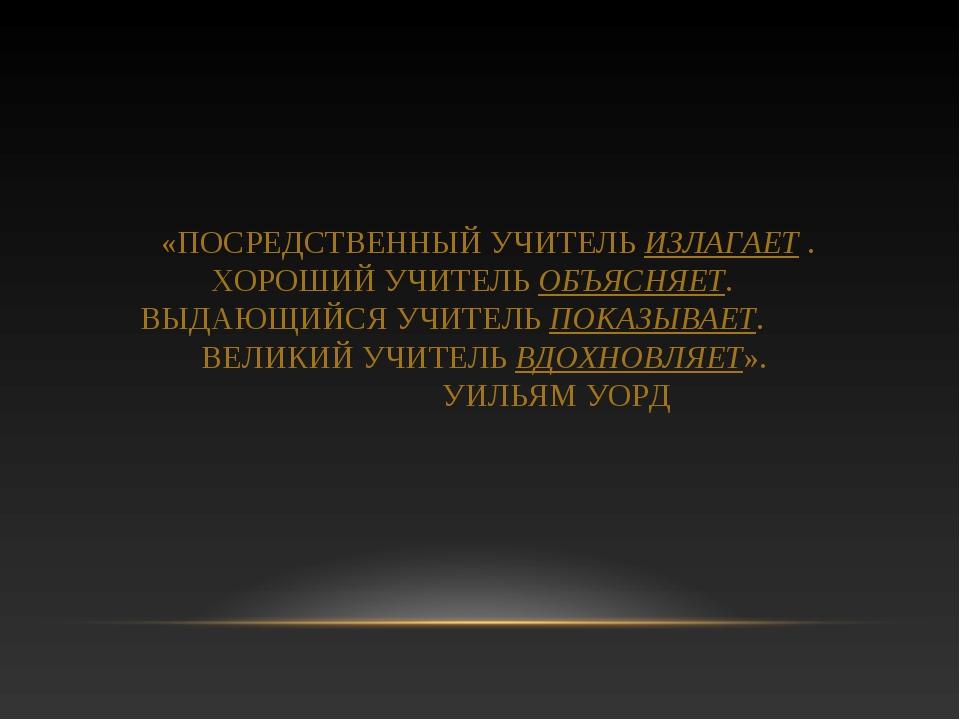 «ПОСРЕДСТВЕННЫЙ УЧИТЕЛЬ ИЗЛАГАЕТ . ХОРОШИЙ УЧИТЕЛЬ ОБЪЯСНЯЕТ. ВЫДАЮЩИЙСЯ УЧИТ...