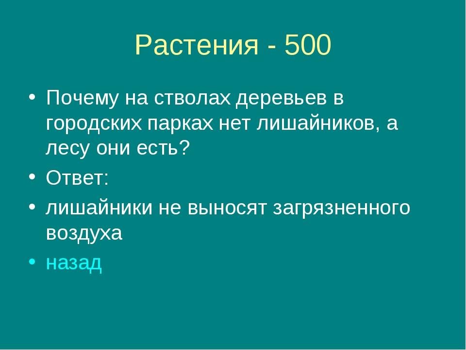 Растения - 500 Почему на стволах деревьев в городских парках нет лишайников,...