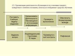2.5. Организация деятельности обучающихся по освоению каждого конкретного эле