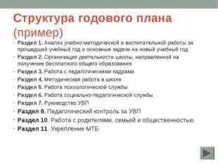 Структура годового плана (пример) Раздел 1. Анализ учебно-методической и восп