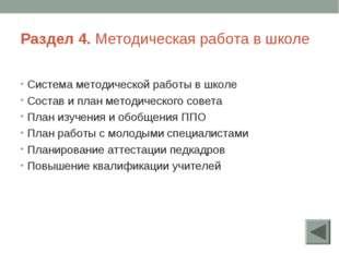 Раздел 4. Методическая работа в школе Система методической работы в школе Сос