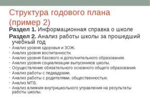 Структура годового плана (пример 2) Раздел 1. Информационная справка о школе