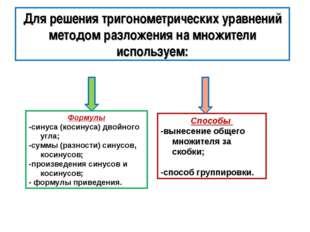 Формулы -синуса (косинуса) двойного угла; -суммы (разности) синусов, косинусо
