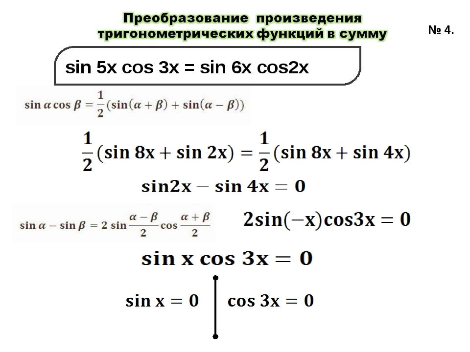 sin 5x cos 3x = sin 6x cos2x № 4.