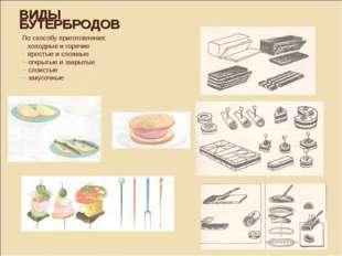ВИДЫ БУТЕРБРОДОВ По способу приготовления: холодные и горячие простые и сложн