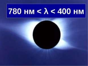 780 нм < λ < 400 нм