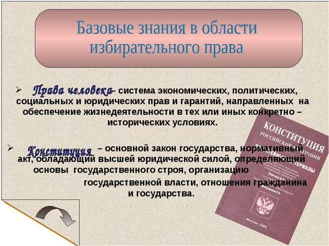 – система экономических, политических, социальных и юридических прав и гаран...