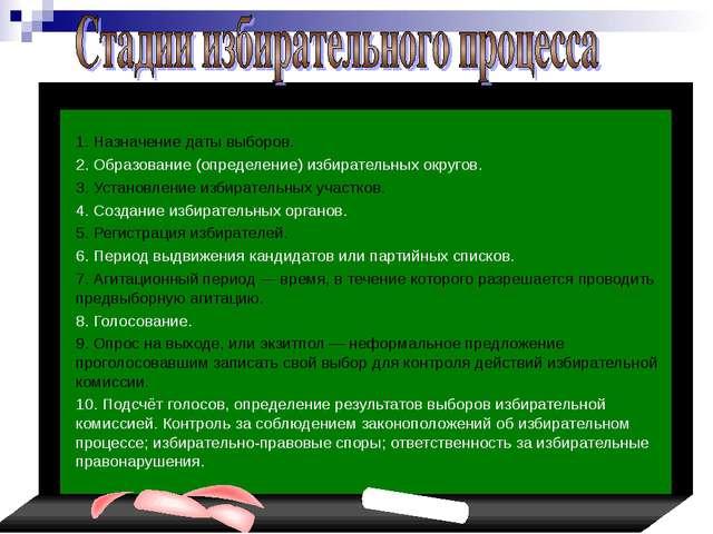 1. Назначение даты выборов. 2. Образование (определение) избирательных ок...
