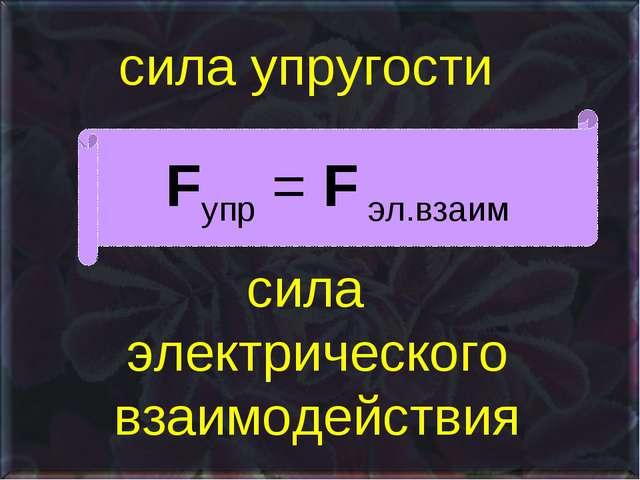 сила упругости сила электрического взаимодействия Fупр = F эл.взаим