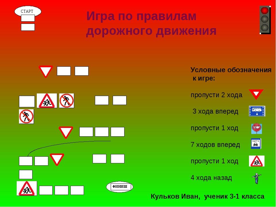 Условные обозначения к игре: пропусти 2 хода 3 хода вперед пропусти 1 ход 7...
