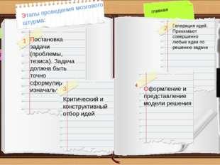 назад вперед главная Этапы проведения мозгового штурма: Постановка задачи (пр