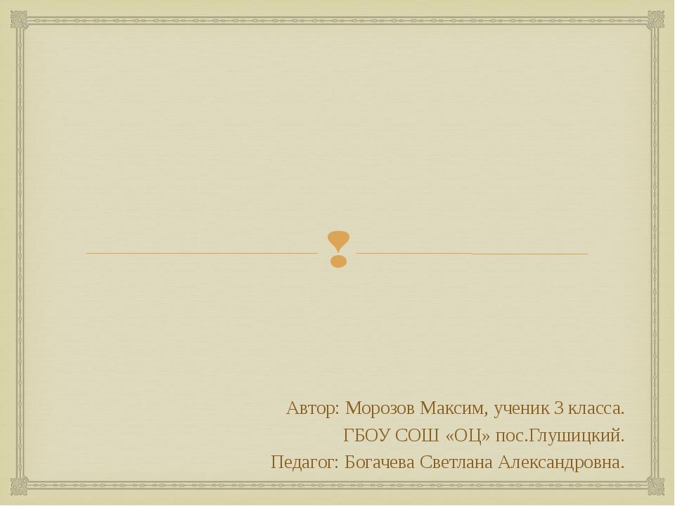 Автор: Морозов Максим, ученик 3 класса. ГБОУ СОШ «ОЦ» пос.Глушицкий. Педагог...
