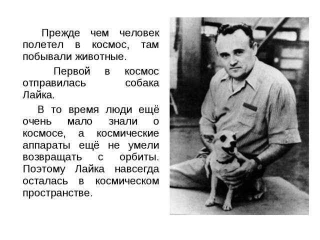 Прежде чем человек полетел в космос, там побывали животные. Первой в космос...
