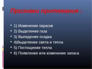 Признаки протекания : 1) Изменение окраски 2) Выделение газа 3) Выпадение оса