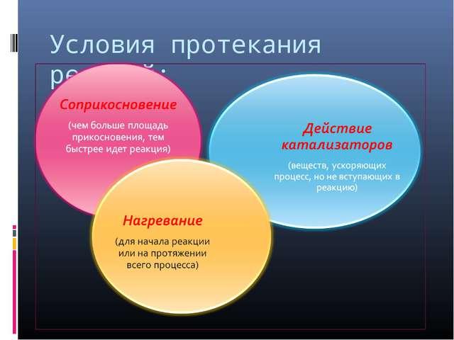 Условия протекания реакций: