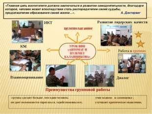 Развитие лидерских качеств Работа в группах Диалог Взаимооценивание КМ ИКТ це