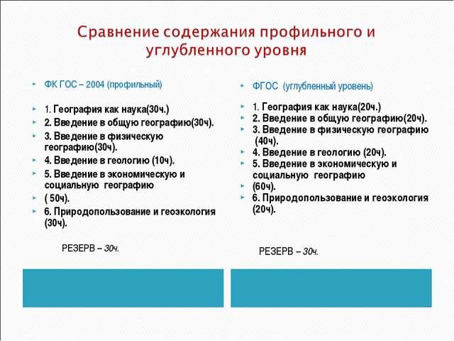 ФК ГОС – 2004 (профильный) 1. География как наука(30ч.) 2. Введение в общую...