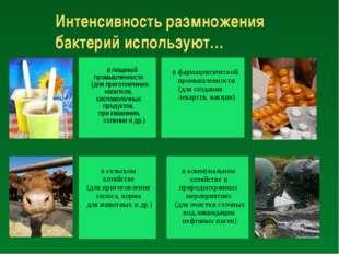 Интенсивность размножения бактерий используют… в пищевой промышленности (для