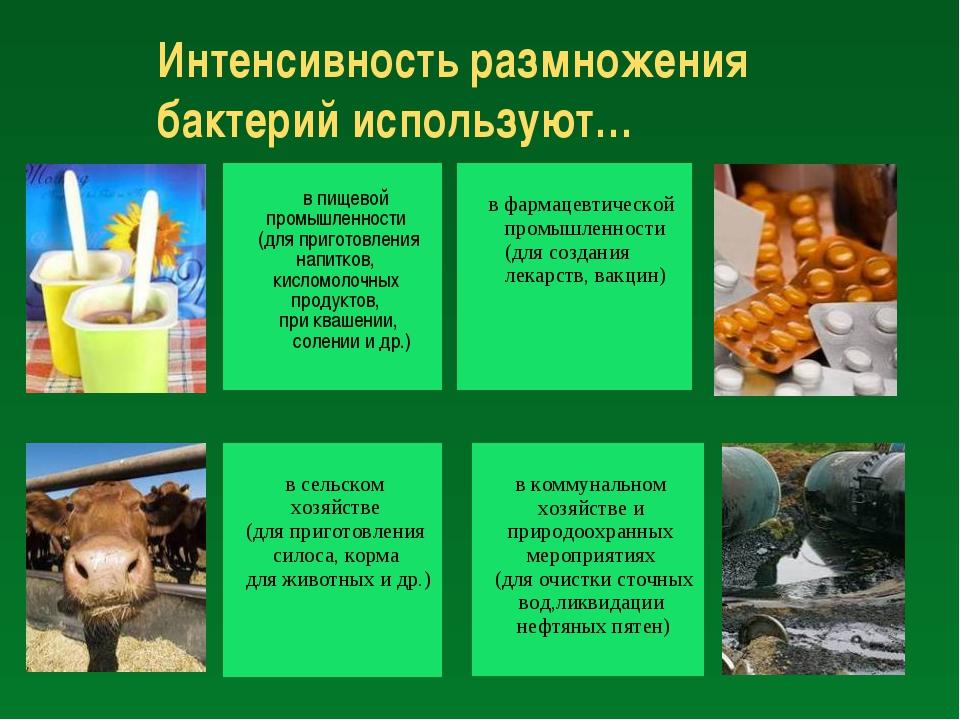 Интенсивность размножения бактерий используют… в пищевой промышленности (для...
