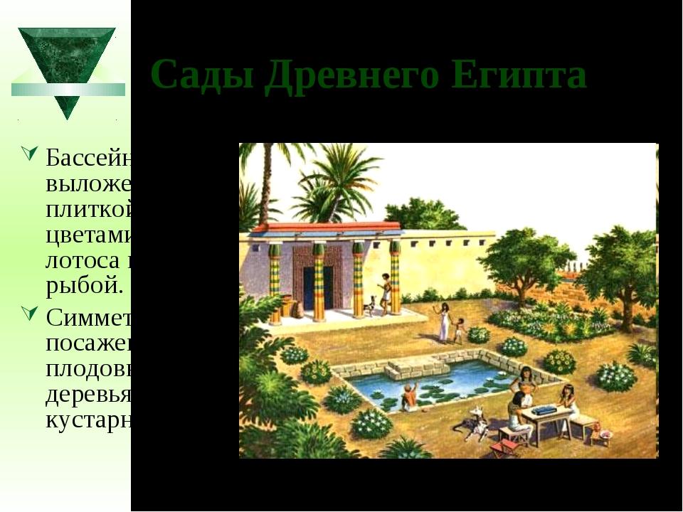 Сады Древнего Египта Бассейны, выложенные плиткой, с цветами лотоса и рыбой....