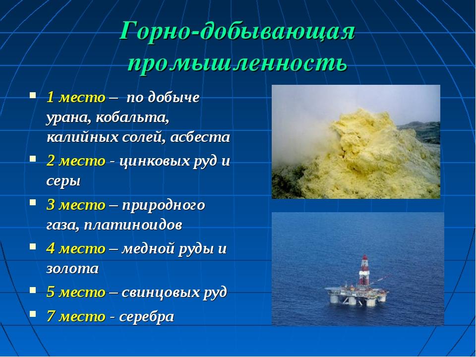 Горно-добывающая промышленность 1 место – по добыче урана, кобальта, калийных...