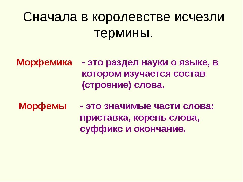 Сначала в королевстве исчезли термины. Морфемика - это раздел науки о языке,...