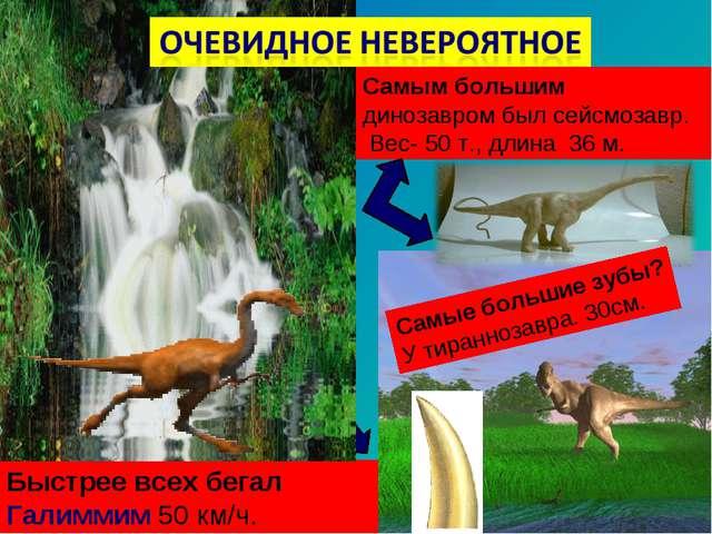 Самым большим динозавром был сейсмозавр. Вес- 50 т., длина 36 м. Быстрее всех...